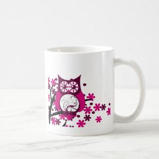 Maroon Swirly Owl Windy Tree Basic White Mug