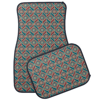 Maroon, Teal Ethnic Pattern, Flowers, Chevrons Car Mat