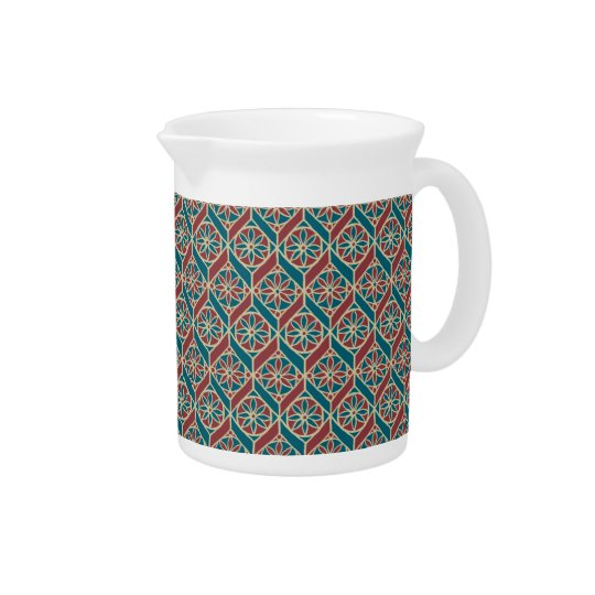 Maroon, Teal Ethnic Pattern, Flowers, Chevrons Pitcher