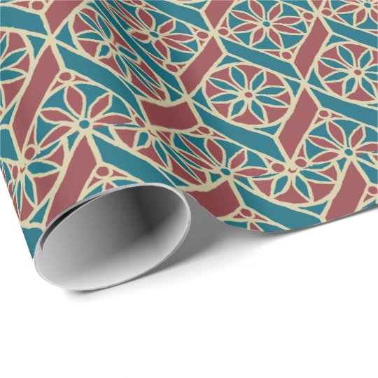 Maroon, Teal Ethnic Pattern, Flowers, Chevrons Wrapping Paper