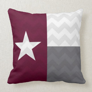 Maroon Texas Flag Chevron Cushion