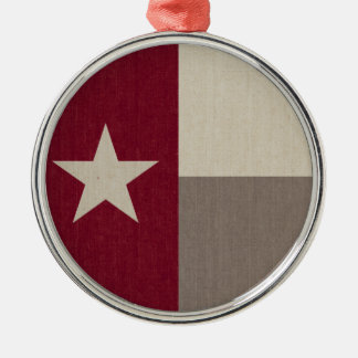 Maroon Texas Flag Fabric Silver-Colored Round Decoration