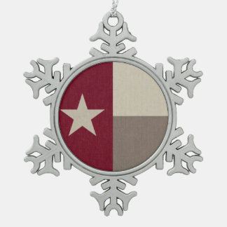 Maroon Texas Flag Fabric Snowflake Pewter Christmas Ornament