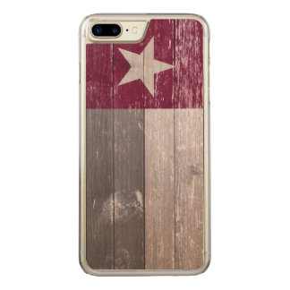 Maroon Texas Flag Painted Wood Carved iPhone 7 Plus Case
