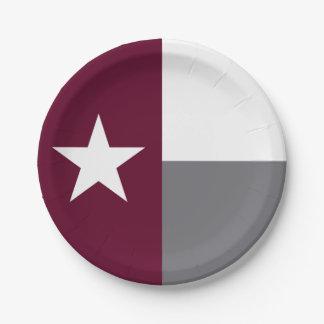 Maroon Texas Flag Paper Plate