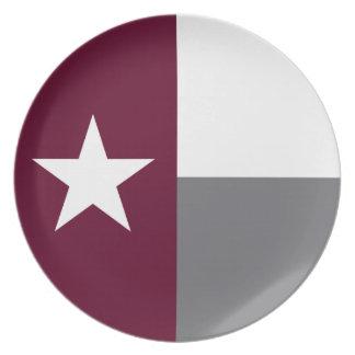 Maroon Texas Flag Plate