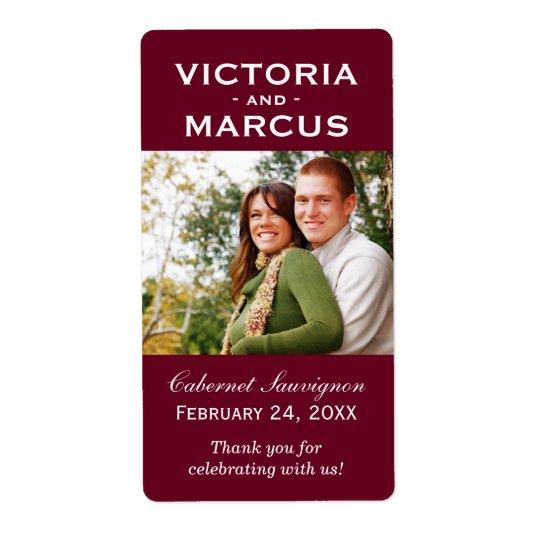 Maroon Wedding Photo Wine Bottle Favour Labels