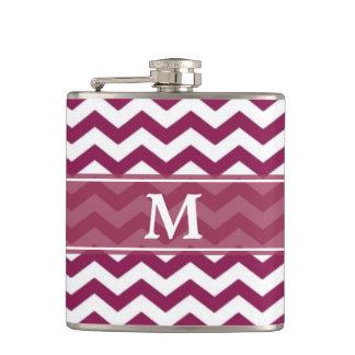 Maroon White Chevron Monogram Hip Flask