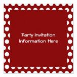 Maroon with White Polka Dots 13 Cm X 13 Cm Square Invitation Card