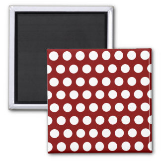Maroon with White Polka Dots Magnet