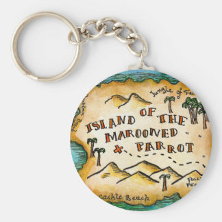 Marooned Parrot Pirate Treasure Map Keychain