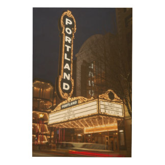 Marquee of Arlene Schnitzer auditorium Wood Print