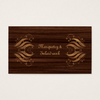 Marquetry inlaid wood pattern business card