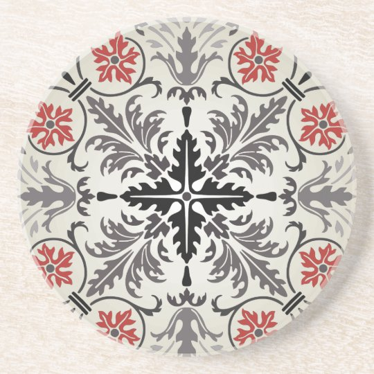 marquetry pattern drink coaster