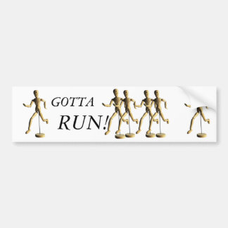 Marquette GOTTA RUN WOODEN PUPPET MAN Bumper Sticker