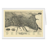 Marquette, MI Panoramic Map - 1897 Greeting Cards