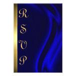 Marquis Blue Silk Gold RSVP Card Custom Invite