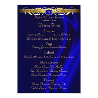 Marquis Blue Silk Gold Scroll Wedding Menu 13 Cm X 18 Cm Invitation Card