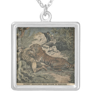 Marquis of Barthelemy wounded by a tiger Silver Plated Necklace