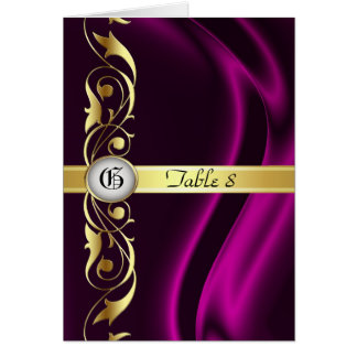 Marquis Pink Silk Gold Scroll Table Card