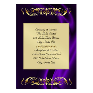 Marquis Purple Silk Gold Guest Info Business Card