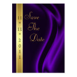 Marquis Purple Silk Gold Save The Date Postcard