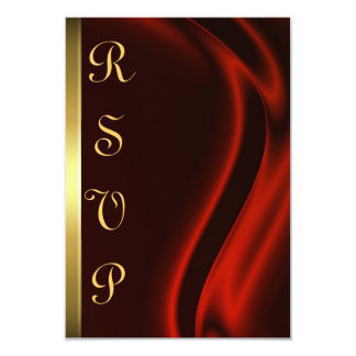 "Marquis Red Silk Gold RSVP Card 3.5"" X 5"" Invitation Card"
