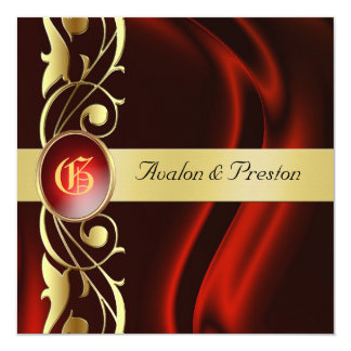 Marquis Red Silk Gold Scroll Ruby Invitation