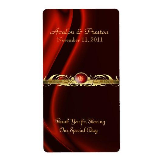 Marquis Red Silk Gold Scroll Wine Wedding Label