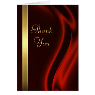 Marquis Red Silk Gold Thank You Notecard