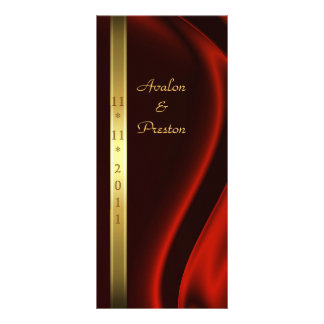 Marquis Red Silk Gold Wedding Program Personalized Rack Card