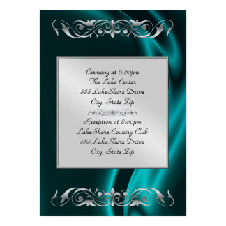 Marquis Teal Silk Silver Guest Info Business Card