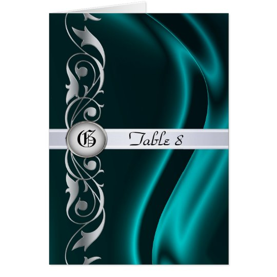 Marquis Teal Silk Silver Scroll Table Card