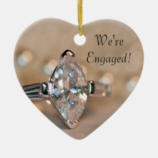 Marquise Diamond Ring Engagement Christmas Ornament