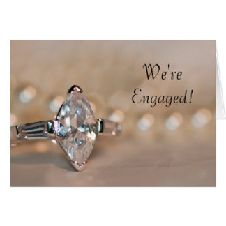 Marquise Diamond Ring Engagement Party Invitation Greeting Card