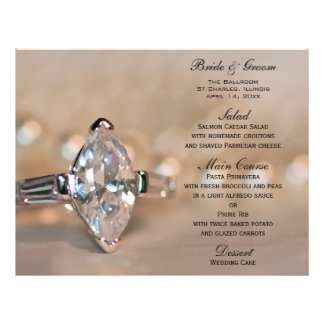 Marquise Diamond Ring Wedding Menu 21.5 Cm X 28 Cm Flyer