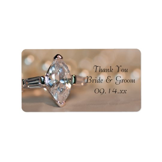 Marquise Diamond Ring Wedding Thank You Favour Tag Address Label