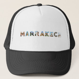 marrakech city morocco symbol text travel landmark trucker hat