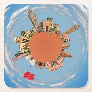 marrakech little planet morocco travel tourism lan square paper coaster