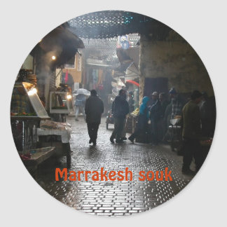 Marrakesh souk in Morocco Classic Round Sticker