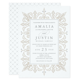 Marrakesh Wedding Invitation | Linen Greige