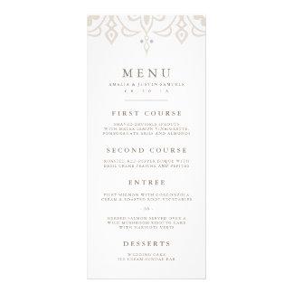 Marrakesh Wedding Menu Card | Linen Greige Custom Rack Cards