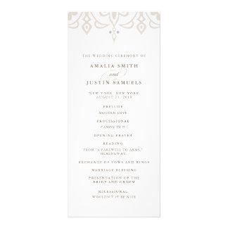 Marrakesh Wedding Program | Linen Greige Personalized Rack Card