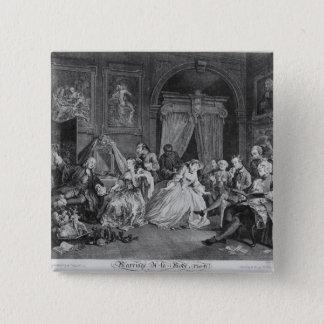 Marriage a la Mode, Plate IV, The Toilette, 1745 15 Cm Square Badge