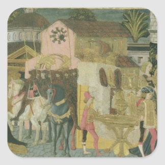 Marriage ceremony painted on cassone panel, Floren Square Sticker