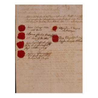 Marriage certificate of Wolfgang,Mozart and Weber Postcard