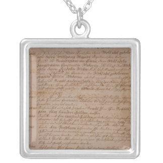 Marriage certificate of Wolfgang,Mozart and Weber Silver Plated Necklace