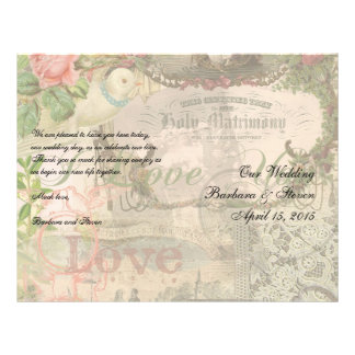 Marriage Collage Vintage Wedding Floral Flyers
