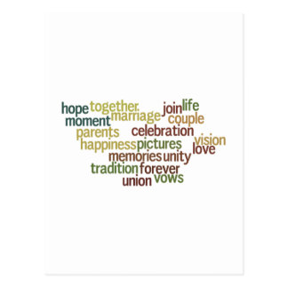 Marriage Collection Of Words (Wedding Wordle) Postcard