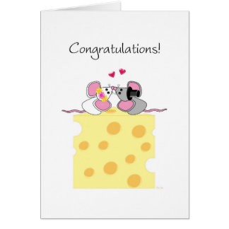 Marriage Congratulations Cute Bride and Groom Mice Greeting Cards